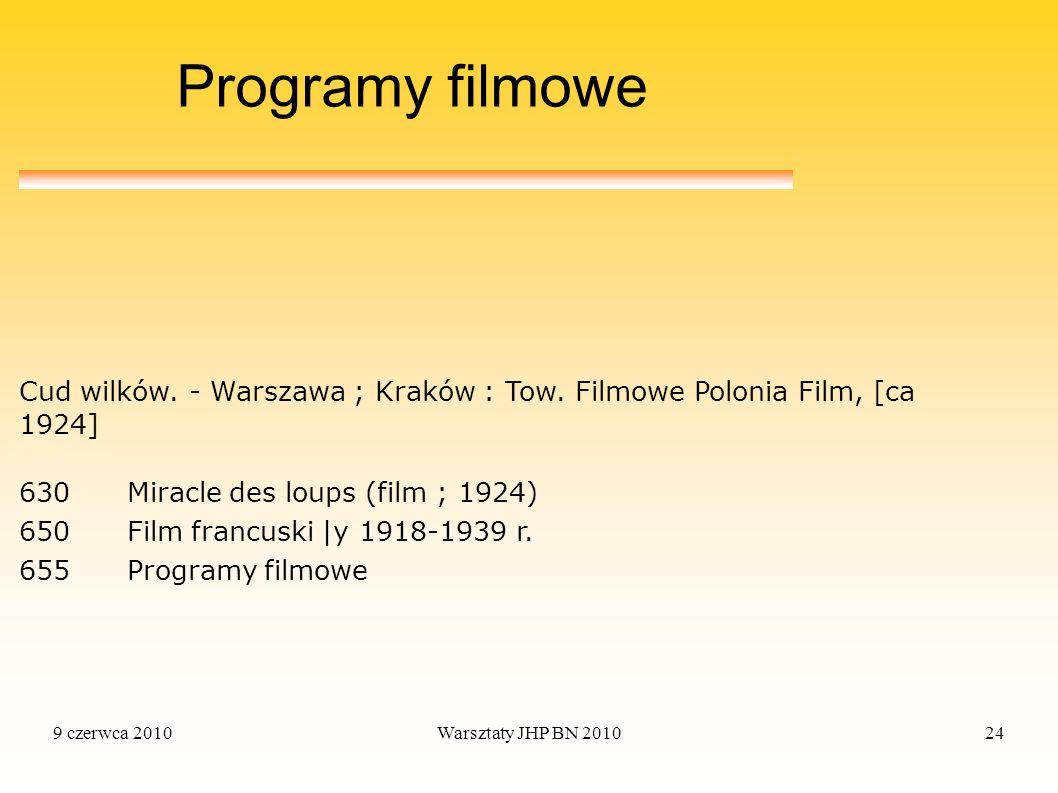 Programy filmowe Cud wilków. - Warszawa ; Kraków : Tow. Filmowe Polonia Film, [ca 1924] 630 Miracle des loups (film ; 1924)